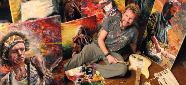Tom Noll of Creative Bone Artworks with a few of his Masterpiece Paintings.