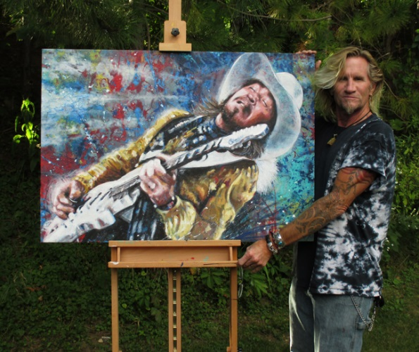 SRV - Stevie Ray Vaughan - Original work of artist Tom Noll titled:  Floor It!